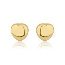 עגילי זהב צמודים -  לב מרגש