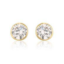 עגילי זהב צמודים -  עיגול מוניקה