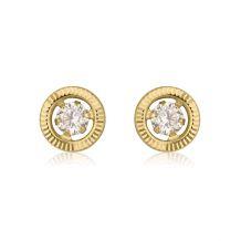 עגילי זהב צמודים -  עיגול קריסטל-קטן