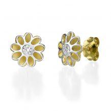 עגילים צמודים מזהב צהוב ולבן - פרח סאנשיין