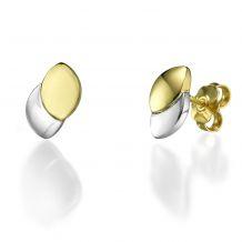 עגילים צמודים מזהב צהוב ולבן - נטיפי הזהב