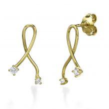 עגילים צמודים מזהב צהוב - קשר הזהב
