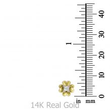 עגילים צמודים מזהב צהוב - פרח רוזבאד