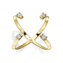 טבעת יהלום מזהב צהוב 14 קראט - אורורה