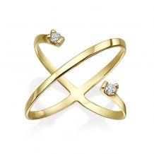 טבעת יהלום מזהב צהוב 14 קראט - וסטה
