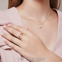 טבעת פתוחה מזהב צהוב 14 קראט - כיפות זהב