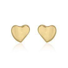 עגילים צמודים מזהב צהוב 14 קראט - לב אוהב