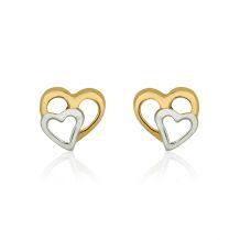 עגילים צמודים מזהב צהוב ולבן 14 קראט - לבבות מחוברים