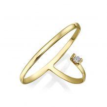 טבעת יהלום מזהב צהוב 14 קראט - פורטונה
