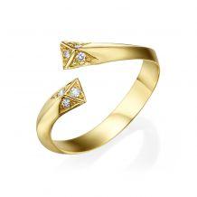 טבעת יהלום מזהב צהוב 14 קראט - אפרודיטה