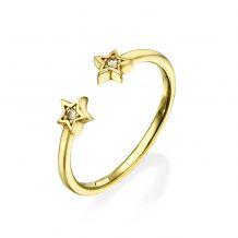 טבעת פתוחה מזהב צהוב 14 קראט - כוכבים נוצצים
