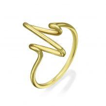 טבעת מזהב צהוב 14 קראט - קרדיוגרם