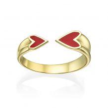 טבעת פתוחה מזהב צהוב 14 קראט - הלב שלי (אדום)