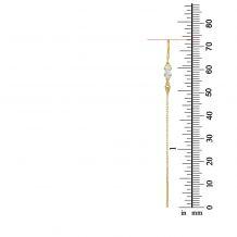 עגילים תלויים מזהב צהוב 14 קראט - שנחאי