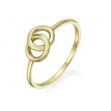 טבעת מזהב צהוב 14 קראט - עיגולי ג'ין