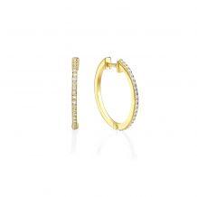עגילי חישוק יהלומים מזהב צהוב 14 קראט - ליידי M