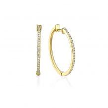עגילי חישוק יהלומים מזהב צהוב 14 קראט - ליידי L