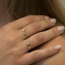 טבעת מזהב צהוב 14 קראט - עיגולי קרולינה