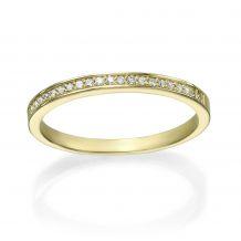 טבעת יהלום מזהב צהוב 14 קראט - מלודיה