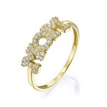 טבעת  מזהב צהוב 14 קראט - mom מנצנצת