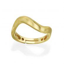 טבעת מזהב צהוב 14 קראט - גל מט