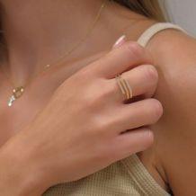 טבעת מזהב צהוב ולבן 14 קראט - אלין