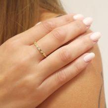 טבעת מזהב צהוב 14 קראט - משולשים מאי