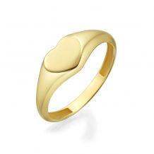 טבעת מזהב צהוב 14 קראט - חותם לב