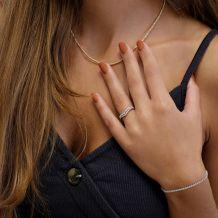 טבעת יהלומים מזהב צהוב 14 קראט - קייט