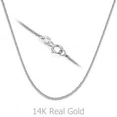 """שרשרת ספיגה זהב לבן 0.8 מ""""מ עובי, 42 ס""""מ אורך"""