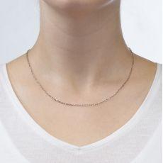 """שרשרת רולו זהב לבן 1.6 מ""""מ עובי, 42 ס""""מ אורך"""