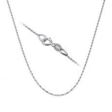 """שרשרת מסובבת זהב לבן 0.6 מ""""מ עובי, 42 ס""""מ אורך"""