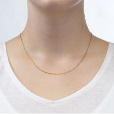 """שרשרת מסובבת זהב צהוב 1 מ""""מ עובי, 42 ס""""מ אורך"""