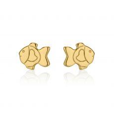 עגילי זהב צמודים -  דג זהב