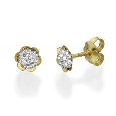 עגילי זהב צמודים -  פרח אוליביה