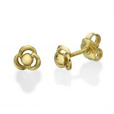 עגילי זהב צמודים -  פרח מילי