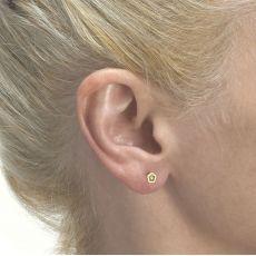עגילי זהב צמודים -  פרח אביבית