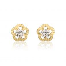 עגילי זהב צמודים -  פרח אליזבט