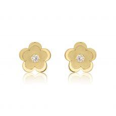 עגילי זהב צמודים -  פרח דייזי