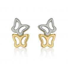 עגילי זהב צמודים -  פרפרים שני צבעים
