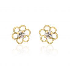 עגילי זהב צמודים -  פרח פלורי קטן