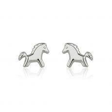 עגילי זהב צמודים -  סוס פוני