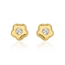 עגילי זהב צמודים -  כוכב פורח קטן מאד