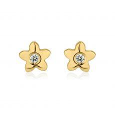 עגילי זהב צמודים -  פרח פורח