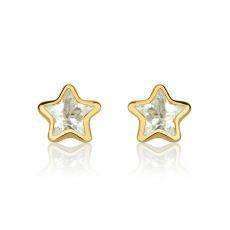 עגילי זהב צמודים -  כוכב מהאגדות