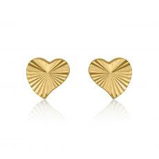 עגילי זהב צמודים -  לב משמעותי
