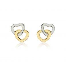 עגילי זהב צמודים -  לבבות מחושקים