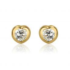 עגילי זהב צמודים -  לב זורח-קטן