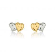 עגילי זהב צמודים -  לבבות משיקים