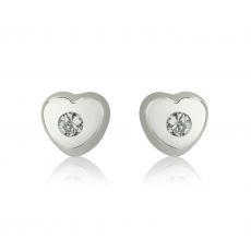 עגילי זהב צמודים -  לב מנצנץ וקטן